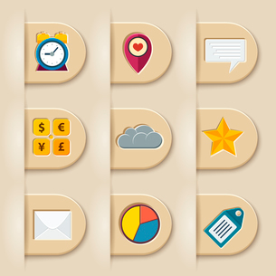 Social media ribbon elements for web or mobile vector illustrationのイラスト素材 [FYI03090564]