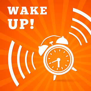 Wake up alarm poster background vector illustrationのイラスト素材 [FYI03090572]
