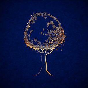 Golden tree concept, symbol of nature vector illustrationのイラスト素材 [FYI03090592]
