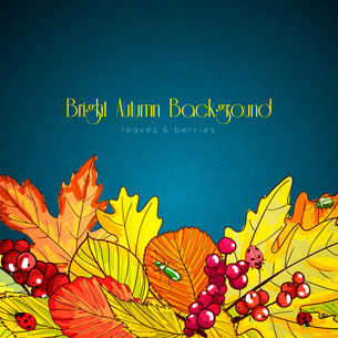 Bright autumn background poster with leaves and berries vector illustrationのイラスト素材 [FYI03090594]