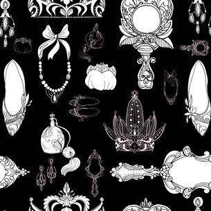 Seamless princess accessories on black vector illustrationのイラスト素材 [FYI03090596]