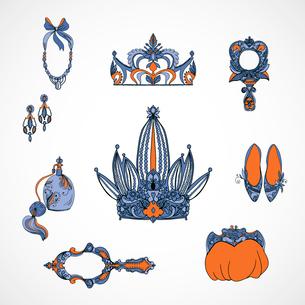 Set of princess accessories vector illustrationのイラスト素材 [FYI03090609]