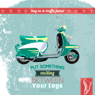 Hipster scooter vintage poster design vector illustrationのイラスト素材 [FYI03090618]