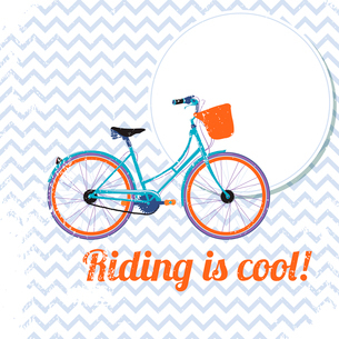 Retro bicycle poster, riding is cool vector illustrationのイラスト素材 [FYI03090625]