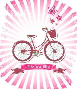 Ride your bike sunburst banner vector illustrationのイラスト素材 [FYI03090626]