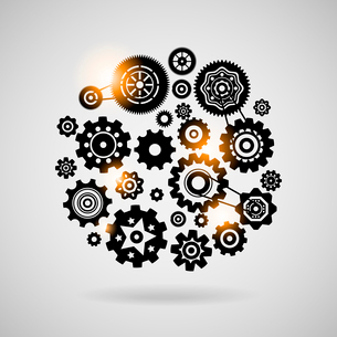 Cogs and gears teamwork concept or symbol vector illustrationのイラスト素材 [FYI03090649]