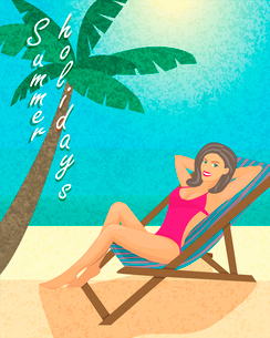 Summer holiday poster, print or banner template vector illustrationのイラスト素材 [FYI03090655]