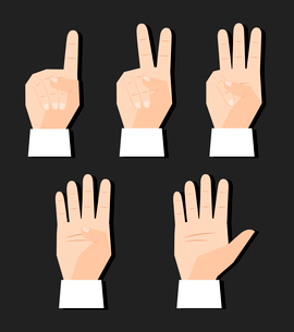 Hand counting finger signs set vector illustrationのイラスト素材 [FYI03090665]