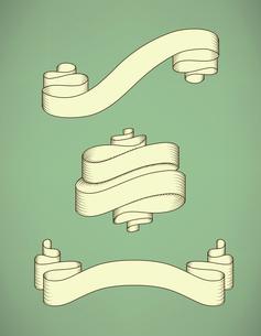 Retro calligraphic decorative ribbon set vector illustration isolatedのイラスト素材 [FYI03090669]