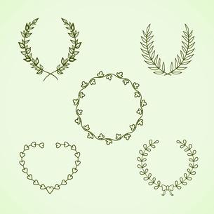 Retro calligraphic decorative wreath set vector illustration isolatedのイラスト素材 [FYI03090672]