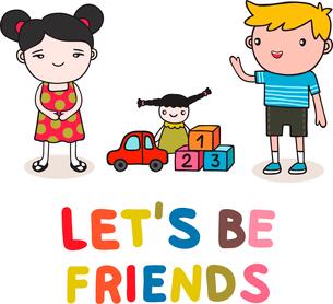 Start of cute kids friendship vector illustration isolatedのイラスト素材 [FYI03090679]