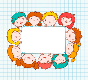 Doodle kids blank frame template vector illustrationのイラスト素材 [FYI03090682]