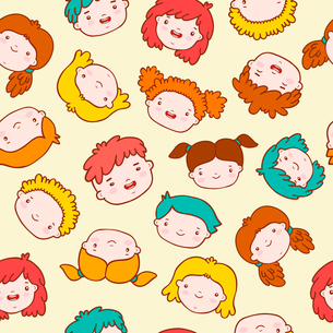 Funny seamless background with doodle kids vector illustrationのイラスト素材 [FYI03090683]