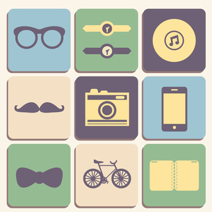 Flat hipster iconset for web or mobile app design vector illustrationのイラスト素材 [FYI03090689]
