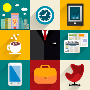 Business set of generic icons with shadows vector illustrationのイラスト素材 [FYI03090691]