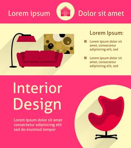 Modern interior design poster template vector illustrationのイラスト素材 [FYI03090694]