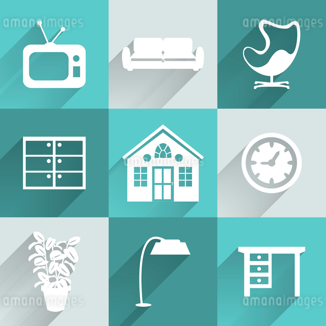 Interior furniture icons set, white with long shadows vector illustrationのイラスト素材 [FYI03090695]