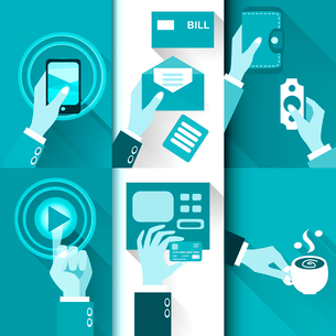 Business hands in action, pay, buy, transfer money vector illustrationのイラスト素材 [FYI03090696]