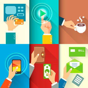 Business hands in action, pay, buy, transfer money vector illustrationのイラスト素材 [FYI03090699]