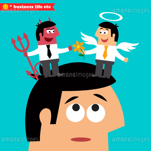 Business life. Moral choice, business ethics and temptation concept vector illustrationのイラスト素材 [FYI03090700]