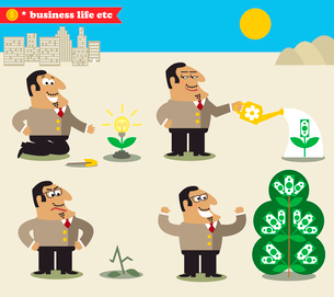 Business life. Boss watering tree from idea to profit set vector illustrationのイラスト素材 [FYI03090702]