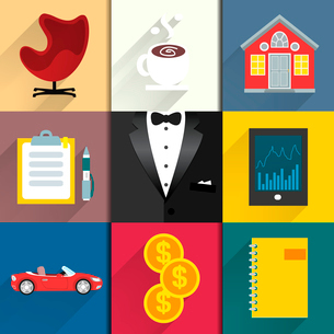 Business suits. Icons set for luxury life with tuxedo car coffee and money vector illustrationのイラスト素材 [FYI03090704]