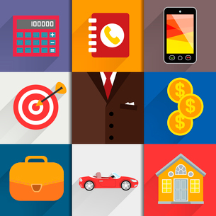 Business suits. Web design elements with accounting icons of calc money case and goal vector illustrのイラスト素材 [FYI03090705]
