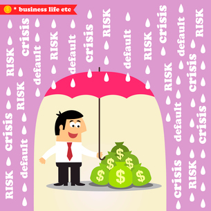 Business life. Money risk management, protection of investments or revenue vector illustrationのイラスト素材 [FYI03090708]