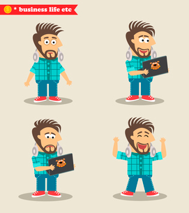 Business life. Seasoned IT guy emotions in poses, standing set vector illustrationのイラスト素材 [FYI03090709]