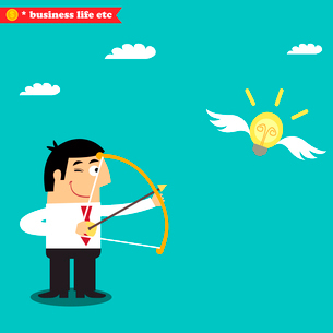 Business life. Manager targets lightbulb to get a business idea vector illustrationのイラスト素材 [FYI03090712]