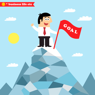 Business life. An idea of goal achievement, victory or successful growth vector illustrationのイラスト素材 [FYI03090714]