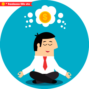 Business life. Manager meditating on money and success in the lotus position vector illustrationのイラスト素材 [FYI03090715]