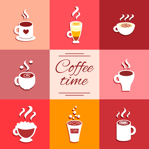 Collection of cup icons with hot coffee drinks espresso latte and cappuccino vector illustrationのイラスト素材 [FYI03090716]