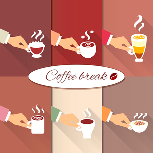 Coffee break. Business hands offering hot aroma drinks of espresso cappuccino and macchiato icons seのイラスト素材 [FYI03090718]