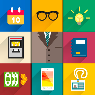 Business suits. Icons set of office accessories calendar ideabulb notebook and mobile vector illustrのイラスト素材 [FYI03090720]