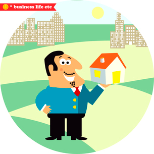 Business life. Happy director with new building for office or residence vector illustrationのイラスト素材 [FYI03090722]
