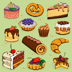Pies and flour products for bakery, pastry, vector illustrationのイラスト素材 [FYI03090723]