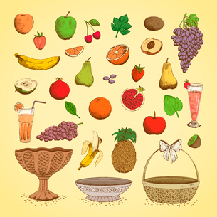 Set of juicy fresh fruits, orange, grape, apple, strawberry, cherry and others vector illustrationのイラスト素材 [FYI03090724]