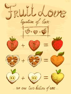 Fruit love formula vintage poster vector illustrationのイラスト素材 [FYI03090729]
