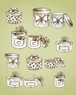 Set of gift present boxes with bows, ribbon, hearts and labels vector illustrationのイラスト素材 [FYI03090730]