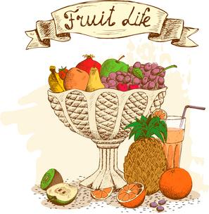 Fruit vase with fresh juice still life vector illustrationのイラスト素材 [FYI03090731]