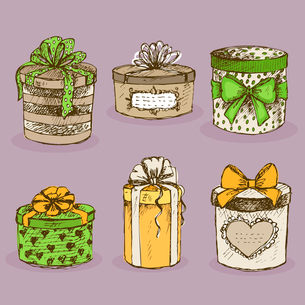 Collection of gift present boxes with bows, ribbon, hearts and labels vector illustrationのイラスト素材 [FYI03090733]
