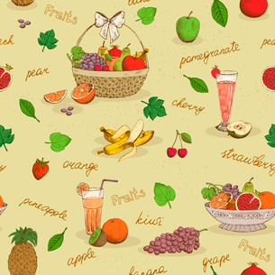 Fruits seamless pattern with names background vector illustrationのイラスト素材 [FYI03090734]