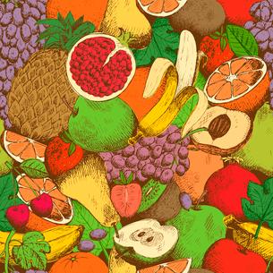 Bright juicy fresh fruits seamless pattern vector illustrationのイラスト素材 [FYI03090737]