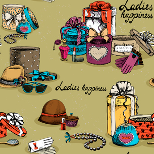 Ladies happiness pattern. Seamless woman accessory with gift boxes vector illustrationのイラスト素材 [FYI03090739]