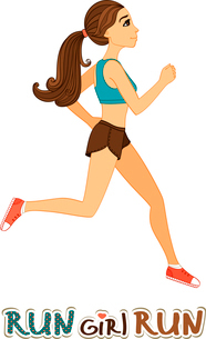 Running slim finess girl isolated vector illustrationのイラスト素材 [FYI03090749]
