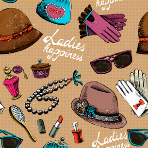 Ladies happiness background. Women pattern with gloves glasses hat perfume and other accessory vectoのイラスト素材 [FYI03090752]
