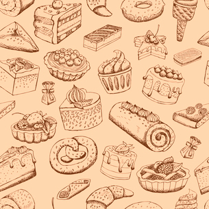 Seamless sweet pastries food vector illustration wallpaperのイラスト素材 [FYI03090754]