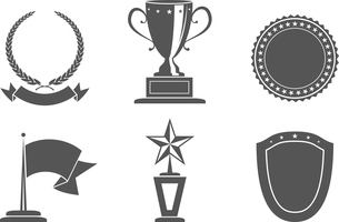 Recognition award prize badges set vector illustrationのイラスト素材 [FYI03090756]