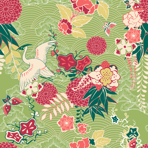 Oriental silk pattern with crane and flowers vector illustrationのイラスト素材 [FYI03090763]